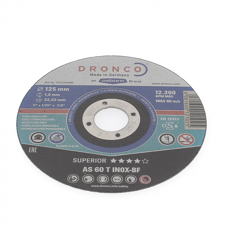Disque à Tronçonner Plat 125x1x22.2 AS60T Inox