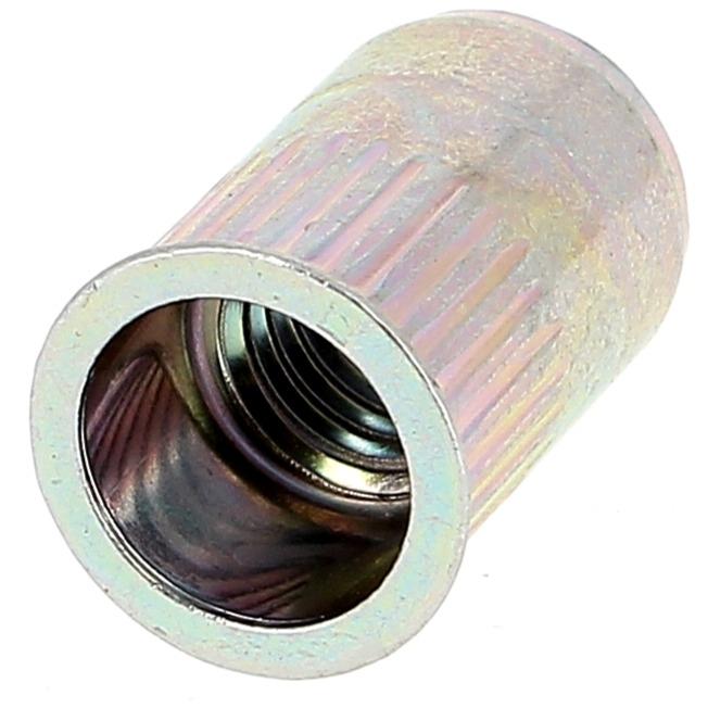 Ecrou Noyé RIVKLE en Acier à Fût Cylindrique Moleté Ouvert (Tête Fine)