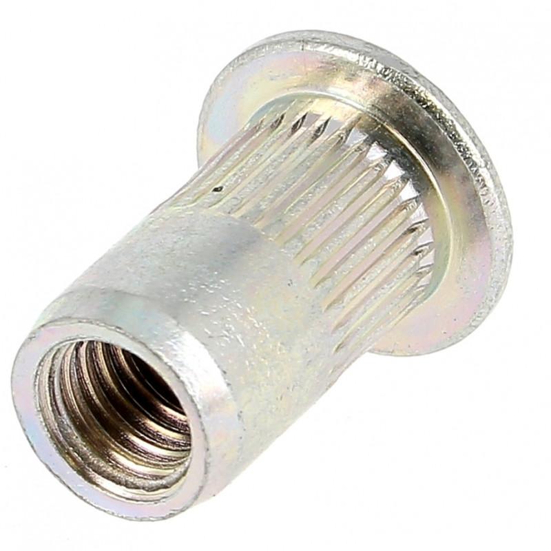 Ecrou Noyé RIVKLE en Acier à Fût Cylindrique Moleté Ouvert (Tête Plate)