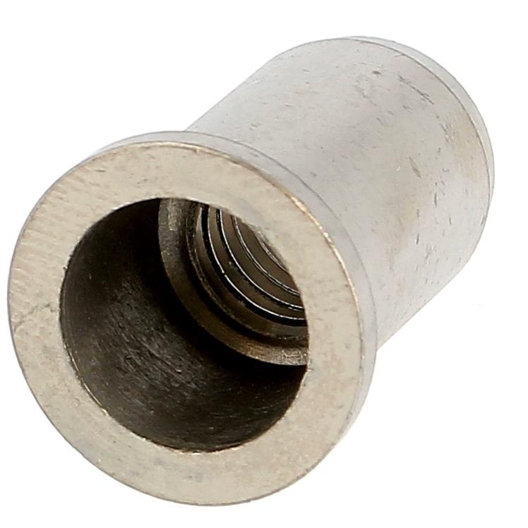 Ecrou Noyé RIVKLE en Inox à Fût Cylindrique Lisse Ouvert (Tête Plate)