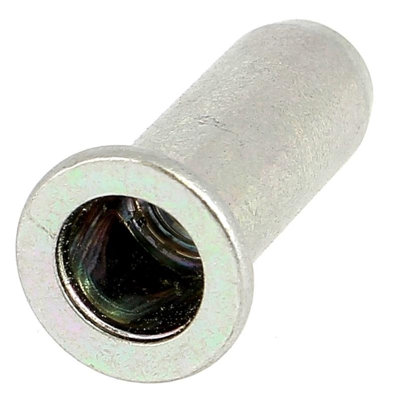 Ecrou Noyé RIVKLE en Acier Bichromaté à Fût Cylindrique Lisse Borgne (Tête Plate)