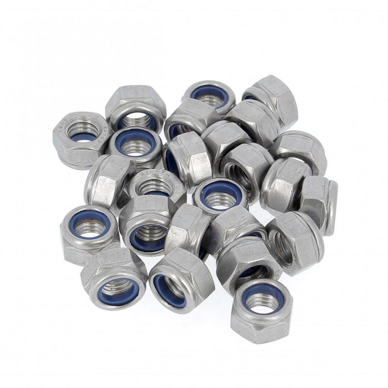 Sachet de 100 Ecrous Nylstop Inox A2